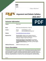 Argument and Debate  Syllabus 2016-17