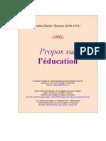 Alain, Propos sur l'éducation