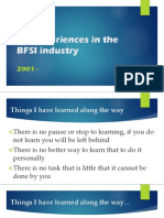 My experiences in the BFSI industry