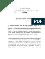 retos y perspectivas de los DDHH en Colombia (informe de lectura)