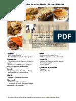 Menu de La Cuisine de Meme Moniq 18 Au 24 Janvier