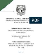 SATURACIÓN URBANA Y SU IMPACTO EN LA SOSTENIBILIDAD DE LA CDMX 1990-2015