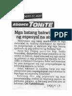 Abante Tonite, Jan. 27, 2020, Mga batang bakwit bigyan ng espesyal na atensyon.pdf