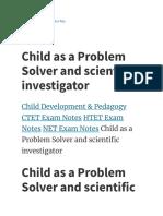 Child as a Problem Solver and scientific investigator - TET Success Key