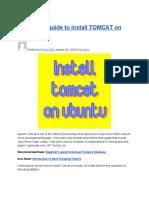 Beginner's Guide to Install TOMCAT on UBUNTU