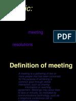 meeting, resolution