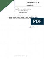 CO 291_CALENDARIO de PROVAS de FUTEBOL FEMININO 2019_2020