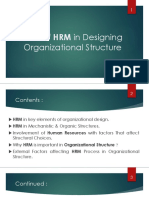 Role of HRM in Designing Organizational Structure