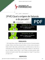 [PVE] Qual a origem de Satanás e do pecado_