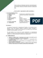 SILABO COMUNICACIÓN Y ARGUMENTACIÓN CIENTÍFICA - Dr. ALARCON