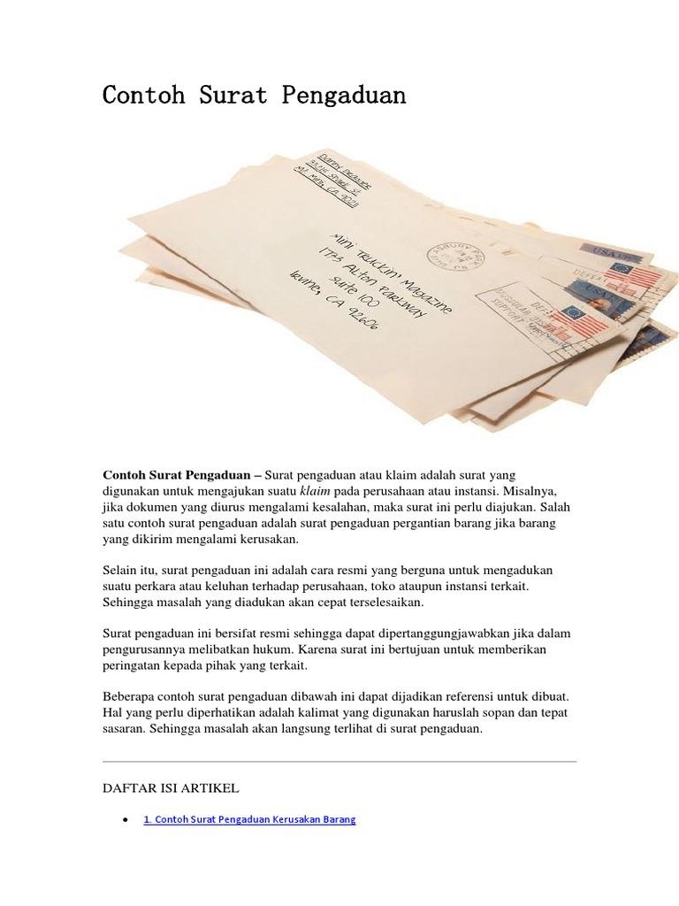 Contoh Surat Pengaduan
