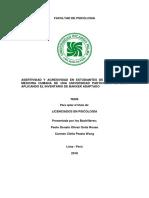 Tesis Asertividad y Agresividad - Paolo Olivari y Carmen Pezzia