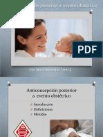 Anticoncepción posterior a  evento obstétrico (Dra. Maria M. Pérez)