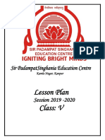 Lesson plan class 5 icse
