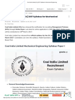 Coal India Limited (CIL) Syllabus for Mechanical Engineering