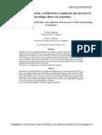 Bregman & Molina 2017 Sistemas de acreditacion, certificacion y regulacion del ejercicio de la Psicologia clinica en Argentina