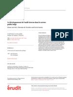 developpement de l'audit interne dans le secteur pulique belge