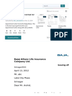 Appointment Letter Format for Bajaj Allianz _ Employment _ Salary
