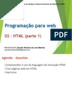 Aula de Programação Web (progweb-02) - HTML parte 1