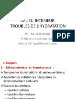 MILIEU INTERIEUR  et troubles d hydratation 2016