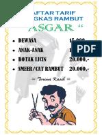 DAFTAR TARIF PANGKAS RAMBUT