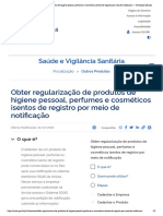 Obter regularização de produtos de higi...io de notificação — Português (Brasil)