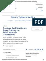 Renovar Certificação de Boas Práticas de Fabricação de Cosméticos — Português (Brasil)