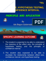Effect size, hypothesis testing and CI