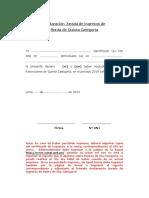 9. Declaración Jurada de INGRESOS DE 5ta CATEGORIA