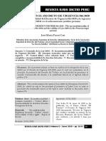Ley 24041 vs Decreto Urgencia 016-2020 - Autor José María Pacori Cari