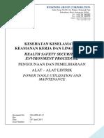 Prosedur HSE (penggunaan alat2 listrik)