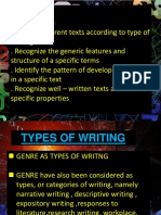 Reading and Writing forms of writing