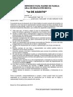 ACTA DE COMPROMISO DE PADRES DE FAMILIA
