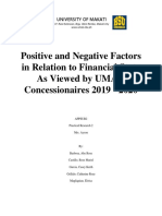 Positive and Negative Factors in Relation to Financial State As Viewed by UMAK Concessionaires 2019.docx