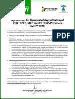 Renewal of PCB Accreditation
