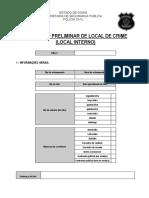 MODELO RELATÓRIO PRELIMINAR- LOCAL DE CRIME INTERNO