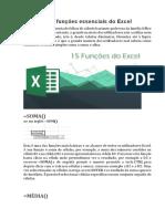 15 funções essenciais do Excel