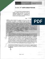 RESOLUCION N°1675-2018-TCE (APLICACION SANCION)