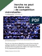 (8) «La recherche ne peut s'inscrire dans une logique de compétition individuelle» - Libération