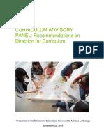 Curriculum Advisory Panel recommendations