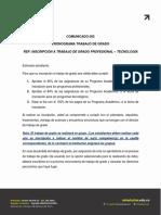 COMUNICADO CICLO I 2020 TRABAJO DE GRADO