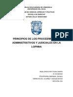 PRINCIPIOS DE LOS PROCEDIMIENTOS ADMINISTRATIVOS Y JUDICIALES EN LA LOPNNA