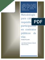 Metodología para definir requisitos de participación en contratos públicos de vías