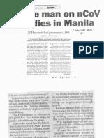Philippine Star, Jan. 30, 2020, Chinese man on nCoV watch dies in Manila.pdf