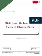 BSLI Critical Illness Rider - FAQ's