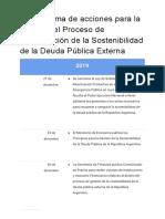 Cronograma de Acciones Para La Gestión Del Proceso de Restauración de La Sostenibilidad de La Deuda Pública Externa