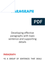 Developing effective paragraphs with topic sentence and supporting