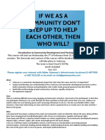 Blurb for Community Development and Participation Courese Jan 2020