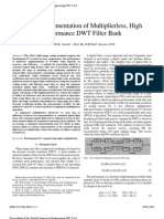 VHDL Implementation of Multiplier Less High Performance DWT Filter Bank WCE2007