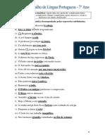 Ficha de Trabalho Funções Sintáticas